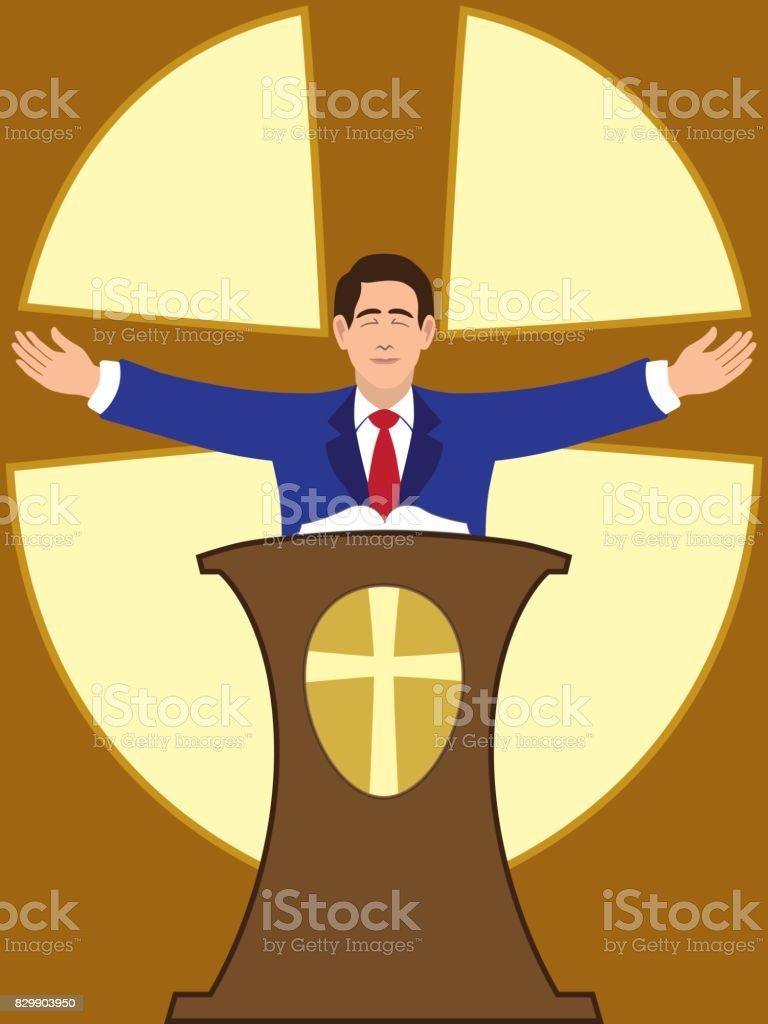 Flat Vector Preacher vector art illustration