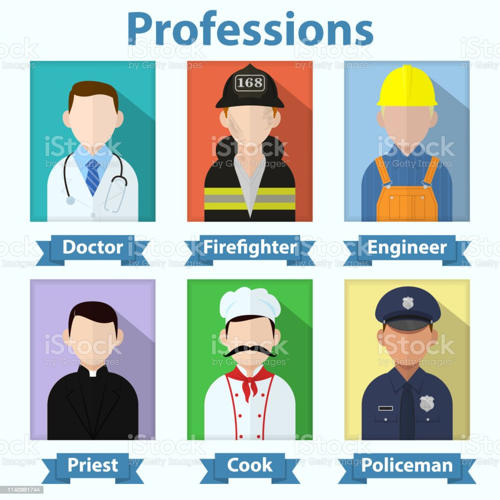 Flat vector profession avatars. Various job people icons. Doctor,...