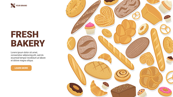 Flat vector realistic illustration, various types of bread, buns, bagels, donut, muffin. Graphics for bakery banner, site, landing page, hero image. Large pastry collection. Website concept.