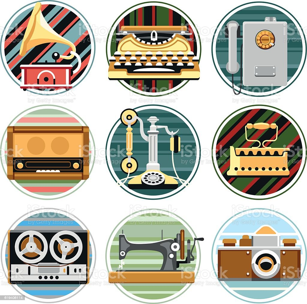 Flat vector retro images, icons vector art illustration