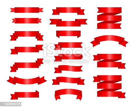 Flat vector ribbons banners flat isolated on white background, Illustration set of red tape