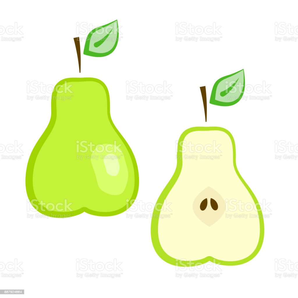 Flat Vector Ripe Green Full And Half Pear Set Stock Illustration