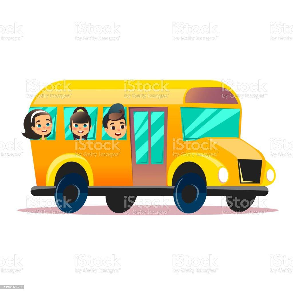 Flat vector school bus. School kids riding a schoolbus. Back to school vector flat concept. Happy schoolchildren are watching from windows flat vector school bus school kids riding a schoolbus back to school vector flat concept happy schoolchildren are watching from windows - stockowe grafiki wektorowe i więcej obrazów autobus royalty-free