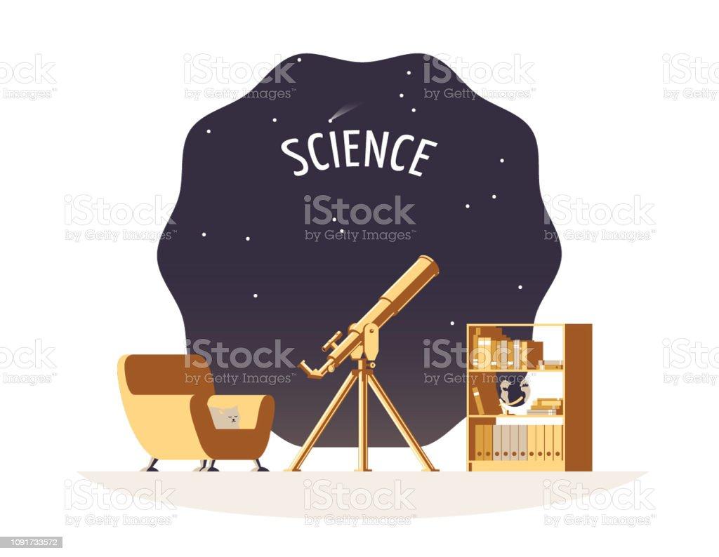 Flache wissenschaft vektorgrafik mit einem teleskop gemütliche