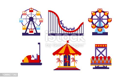 Set of amusement park elements. Funfair attractions and carousels. Entertainment theme. Graphic design for advertising poster or flyer. Colorful flat vector illustrations isolated on white background.