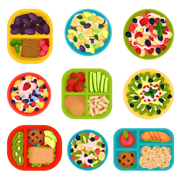 flat vector set of bowls with fruit salads and lunch boxes with food. healthy eating. tasty dishes for breakfast - lunch box stock illustrations, clip art, cartoons, & icons