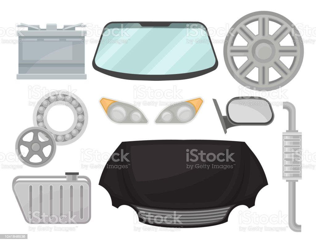 Flat vector set of car parts. Power battery, windshield, exhaust pipe, rear view mirror, titanium rim vector art illustration