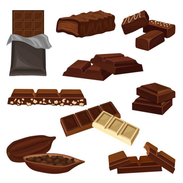 flache vektor eingestellt von schokoladenprodukten. bonbons, stücke von bars und kakaobohne voller samen. süße speisen. elemente für poster oder banner von candy shop - schokolade stock-grafiken, -clipart, -cartoons und -symbole