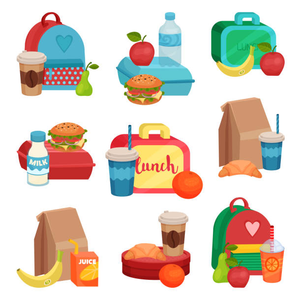 stockillustraties, clipart, cartoons en iconen met platte vector set van kleurrijke composities met voedsel van de school. smakelijke maaltijd. heerlijke vruchten, drank en broodjes - lunch
