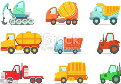 Set of colorful construction and cargo vehicles. Concrete mixing truck, large dumper, excavator, road working car, tractor and small forklift. Flat vector illustration isolated on white background.