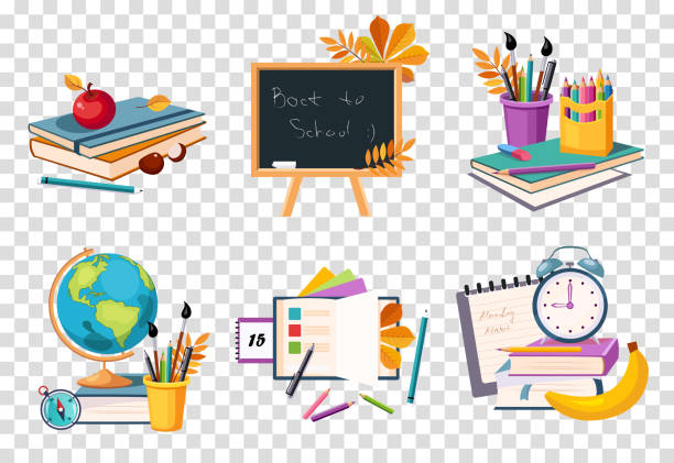 flat vector set of compositions with objects related to education theme. back to school - art class stock illustrations, clip art, cartoons, & icons