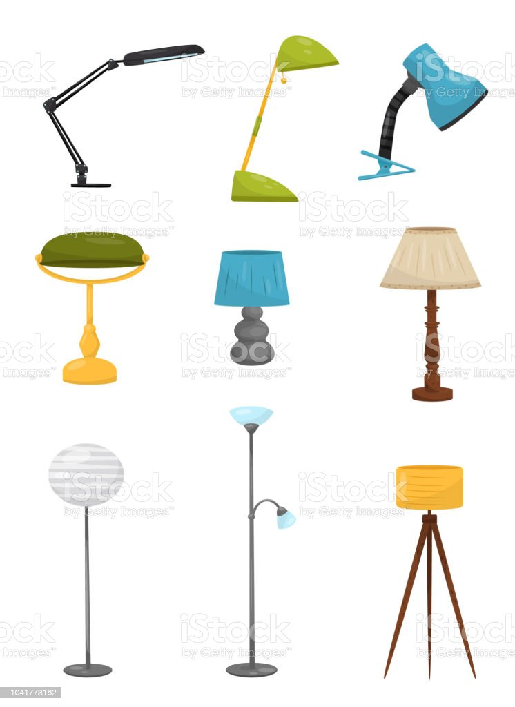 Collection of different floor and desk lamps. Home decor elements....