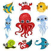 Set of different ocean animals. Cute marine creatures with shiny eyes. Fish, octopus, sea snail, jellyfish, squid, crab. Graphic elements for children book or mobile game. Isolated flat vector icons.