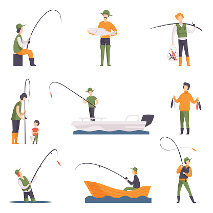 Flat vector set of fishing people with fish and equipment. Fishermen in boats with fishing rods. Outdoor activity