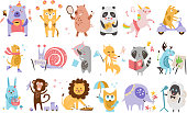 Set of funny cartoon animals characters in different actions. Playing games, sleeping, drinking tea, riding on scooter, drawing. Forest, farm and imagination creatures. Isolated flat vector icons.