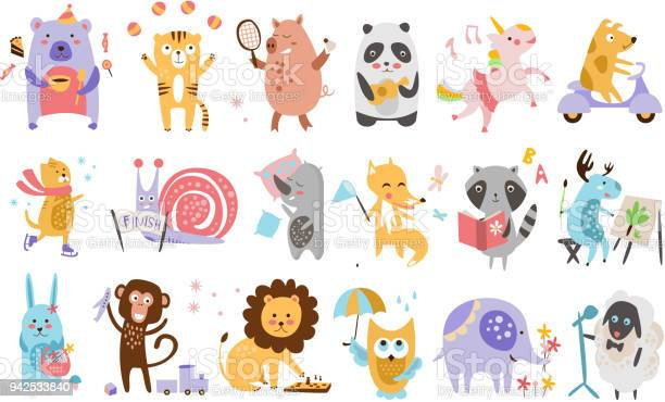 Flat vector set of funny cartoon animals in different actions playing vector id942533840?b=1&k=6&m=942533840&s=612x612&h=whcbjiqje58si0wrylywvighn plsbdfsmus7lpsal4=