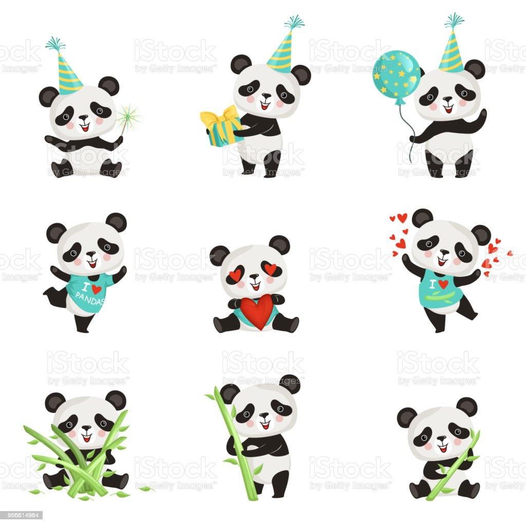 Jeu De Funny Petit Panda Dans Diverses Situations De Plat