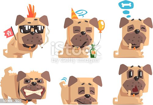 Set of funny pug with different emotions. Home pet. Cartoon character of domestic animal. Graphic design for print, sticker or greeting card. Flat vector illustrations isolated on white background.