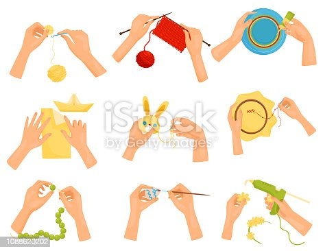 Set of icons showing different hobbies. Hands doing handmade crafts. Knitting, decorating plate, painting egg, sewing toy, working with beads, origami. Flat vector design isolated on white background.