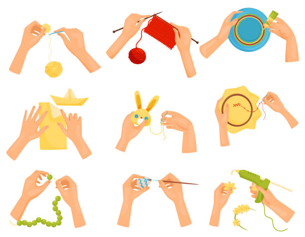 flache vektor satz symbole zeigen verschiedene hobbys. hände, die handarbeit basteln. stricken, dekorieren, malen, nähen - modeschmuck stock-grafiken, -clipart, -cartoons und -symbole