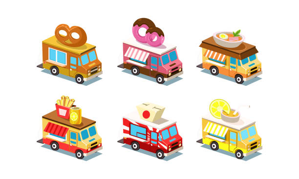 Flat vector set of isometric food trucks. Vans with pretzel, doughnut, soup, french fries and soda, Japanese box and lemonade on roof vector art illustration