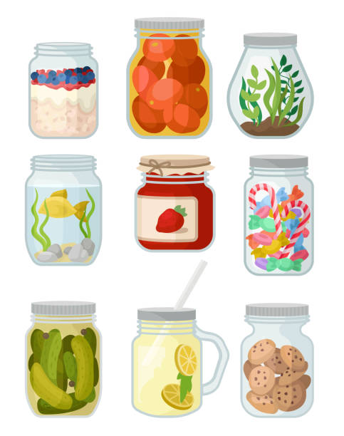 ilustrações de stock, clip art, desenhos animados e ícones de flat vector set of jars with different objects. canned vegetables, cookies and candies, jam, fish and grass, detox water and oatmeal - jam jar
