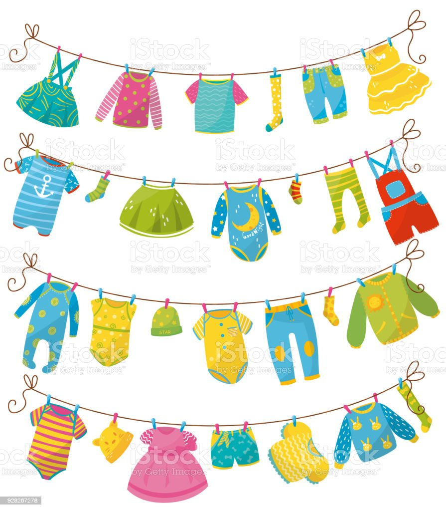 29cba474b Flat vector set of kids clothes on rope. Apparel for newborn boy or girl.  Bodysuit, skirt, t-shirt, sweater, pants, baby romper, cap, sock, dress.