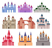 Flat vector set of large fairy tale castles. Medieval palaces with high towers and conical roofs