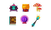 Set of icons related to magic and fairy tale theme. Crystal ball, mushrooms, small casket, cauldron, book of spells and wand. Elements for mobile game. Cartoon style illustrations. Flat vector design.