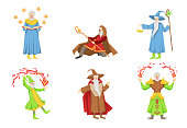 Set of cartoon magicians in different actions. Colorful flat vector illustration isolated on white background.
