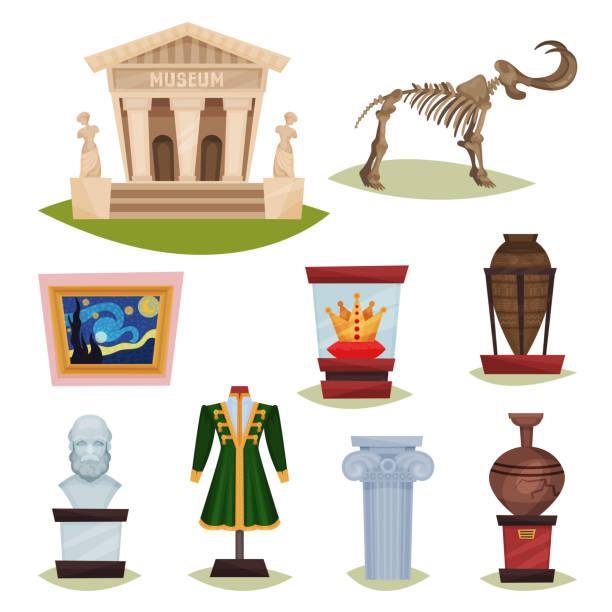 ilustrações de stock, clip art, desenhos animados e ícones de flat vector set of museum exhibits. mammoth skeleton, ceramic vases, clothes, golden crown, famous painting and column - museu