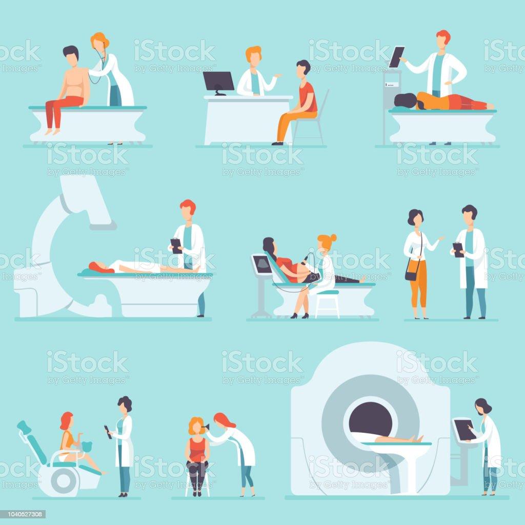Flache Vektor setzen Menschen auf medizinischen Check-up im Krankenhaus. Ärzte ihre Patienten untersuchen. Behandlung und Gesundheitswesen Thema – Vektorgrafik