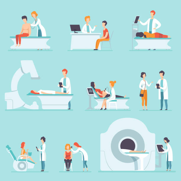 illustrazioni stock, clip art, cartoni animati e icone di tendenza di flat vector set of people on medical check-up at hospital. doctors examining their patient's. treatment and healthcare theme - paziente
