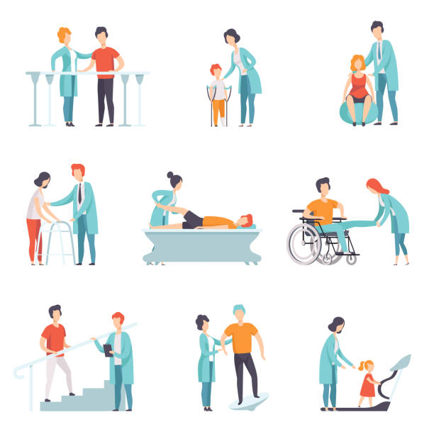 Flat vector set of people on rehabilitation. Physiotherapy clinic. Doctors working with patients. Healthcare and treatment Set of people on rehabilitation. Physiotherapy clinic. Doctors working with patients. Medical service. Healthcare and treatment theme. Colorful flat vector illustration isolated on white background. physical therapy stock illustrations