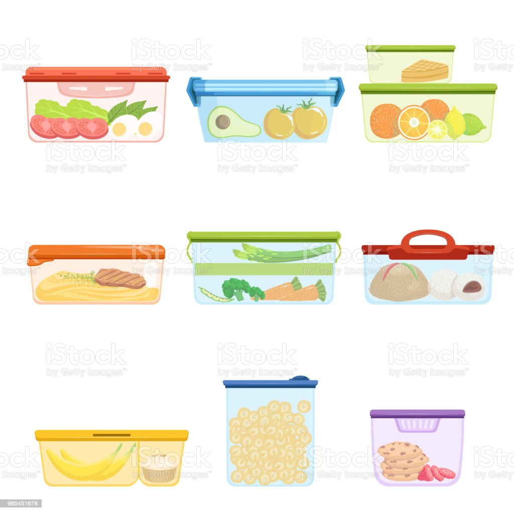 Flat vector set of plastic containers with food vegetables, fruits, sweets, macaroni. Dessert for lunch. Mashed potatoes with pork chop royalty-free flat vector set of plastic containers with food vegetables fruits sweets macaroni dessert for lunch mashed potatoes with pork chop stock vector art & more images of box - container