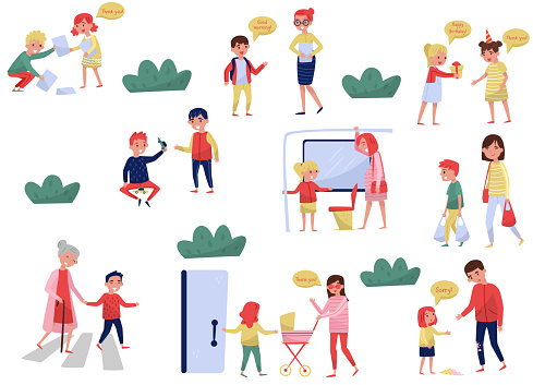 Flat vector set of polite children in different situations. Kids with good manners. Little boys and girls helping adults
