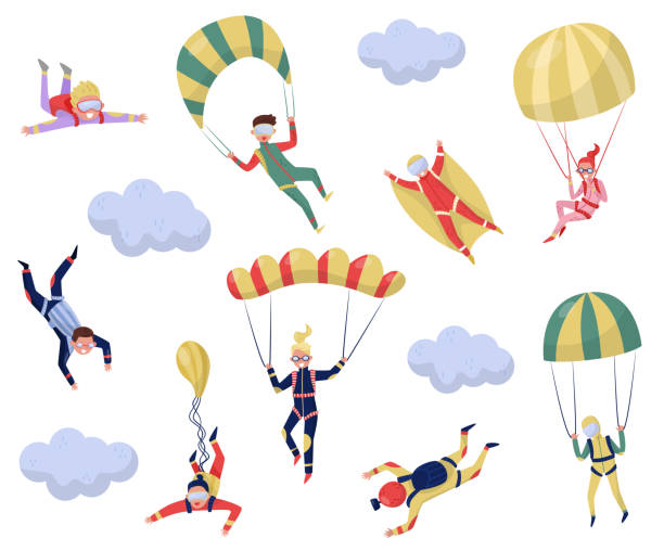 Flat vector set of professional skydivers. Extreme sport. Young wingsuit jumper. Active recreation. Skydiving theme Set of professional skydivers. Extreme sport. Young wingsuit jumper. Active recreation. Cartoon character of happy guys and girls. Skydiving theme. Flat vector design isolated on white background. parachuting stock illustrations