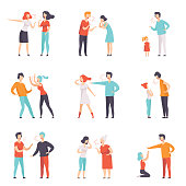 Set of quarreling people. Loud public scandal. Men and women screaming at each other. Mother scolding daughter for bad behavior. Negative emotions and disagreements. Isolated flat vector design.
