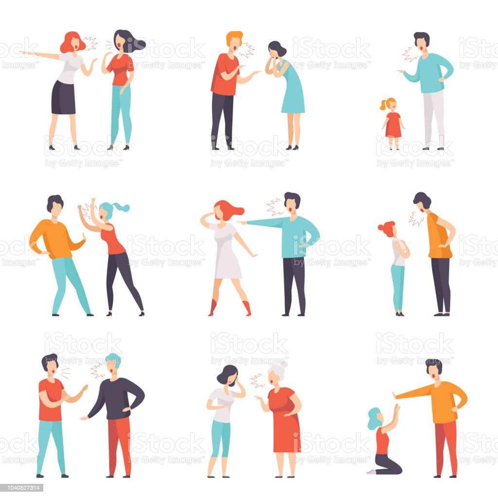 Flat vector set of quarreling people. Loud public scandal. Men and women screaming at each other. Negative emotions and disagreements vector art illustration