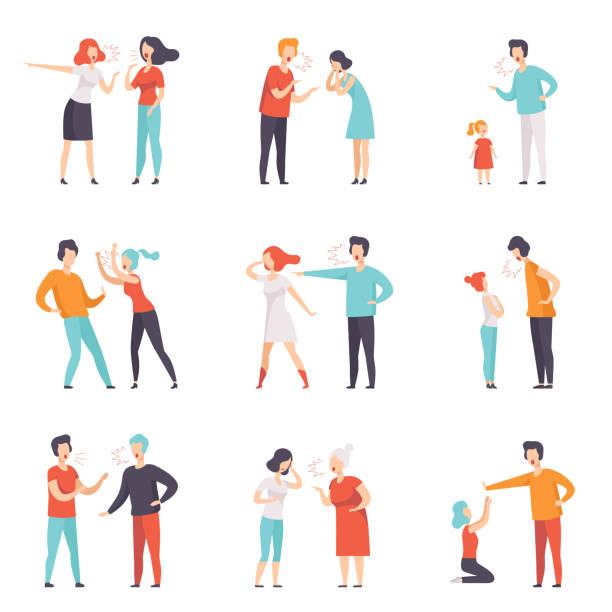 ilustrações, clipart, desenhos animados e ícones de conjunto de vetor plana de pessoas discutindo. alto escândalo público. homens e mulheres gritando um com o outro. desentendimentos e emoções negativas - irmã