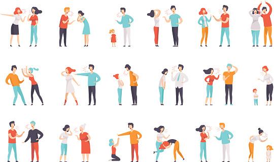 다툼 사람들의 플랫 벡터 세트입니다 여성과 남성은 서로 큰 소리로 비명을 질렀다 아이들을 꾸짖는 어머니들 부정적인 감정과 갈등 가족에 대한 스톡 벡터 아트 및 기타 이미지