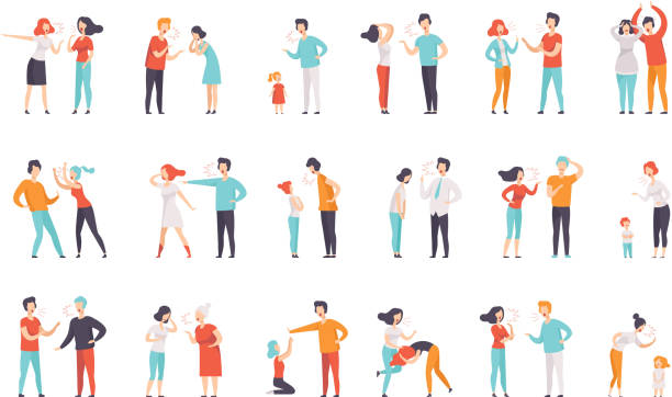 Flat vector set of quarreling people. Women and men loudly screaming at each other. Mothers scolding children. Negative emotions and conflicts Set of quarrelling people. Women and men loudly screaming at each other. Mothers scolding children. Negative emotions and conflicts. Colorful flat vector illustrations isolated on white background. arguing stock illustrations