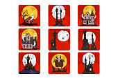 Set of scary castles with full moon and bats, old houses with ghosts and creepy hut on chicken legs. Halloween theme. Graphic design for story book or postcard. Flat vector isolated on red squares.