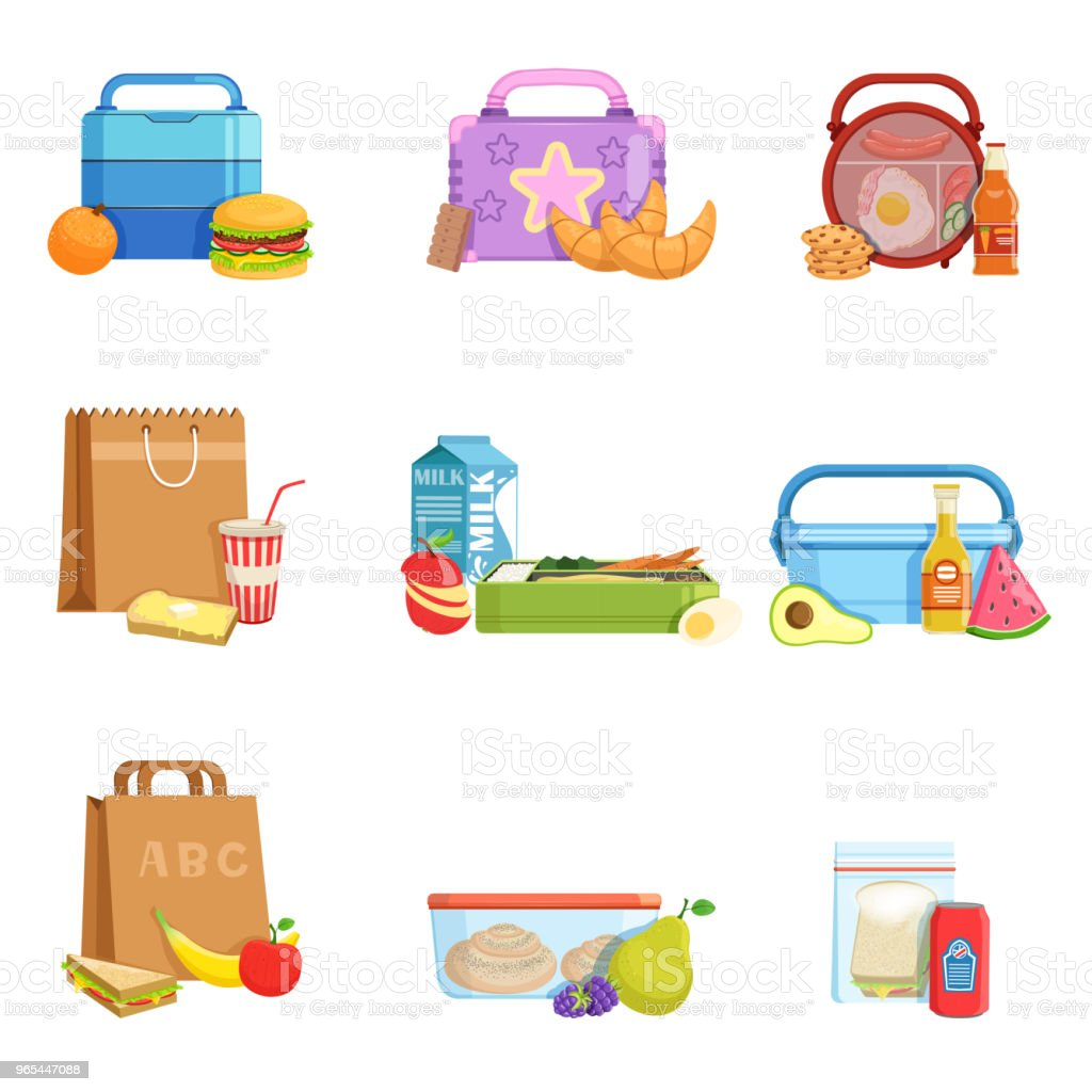 Flat vector set of school lunch boxes and bags with food and drinks. Tasty meal for kids royalty-free flat vector set of school lunch boxes and bags with food and drinks tasty meal for kids stock vector art & more images of bottle