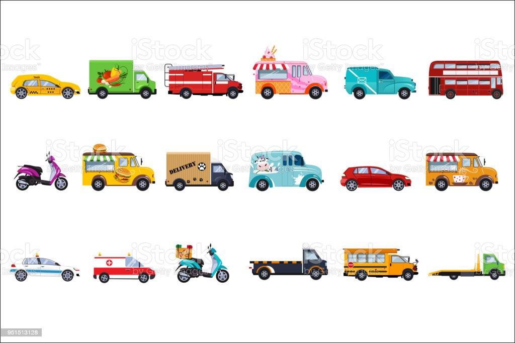 Flache Vektor-Set von Service-Fahrzeuge. Polizeiauto, Taxi, Feuerwehr, Krankenwagen, Lieferwagen, Touristen- und Schulbus, Eis, Fast-Food und Kaffee vans – Vektorgrafik