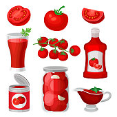 Set of tomato food and drinks. Healthy juice, ketchup and sauce, canned products. Natural and tasty products. Bright red vegetable. Colorful vector icons in flat style isolated on white background.