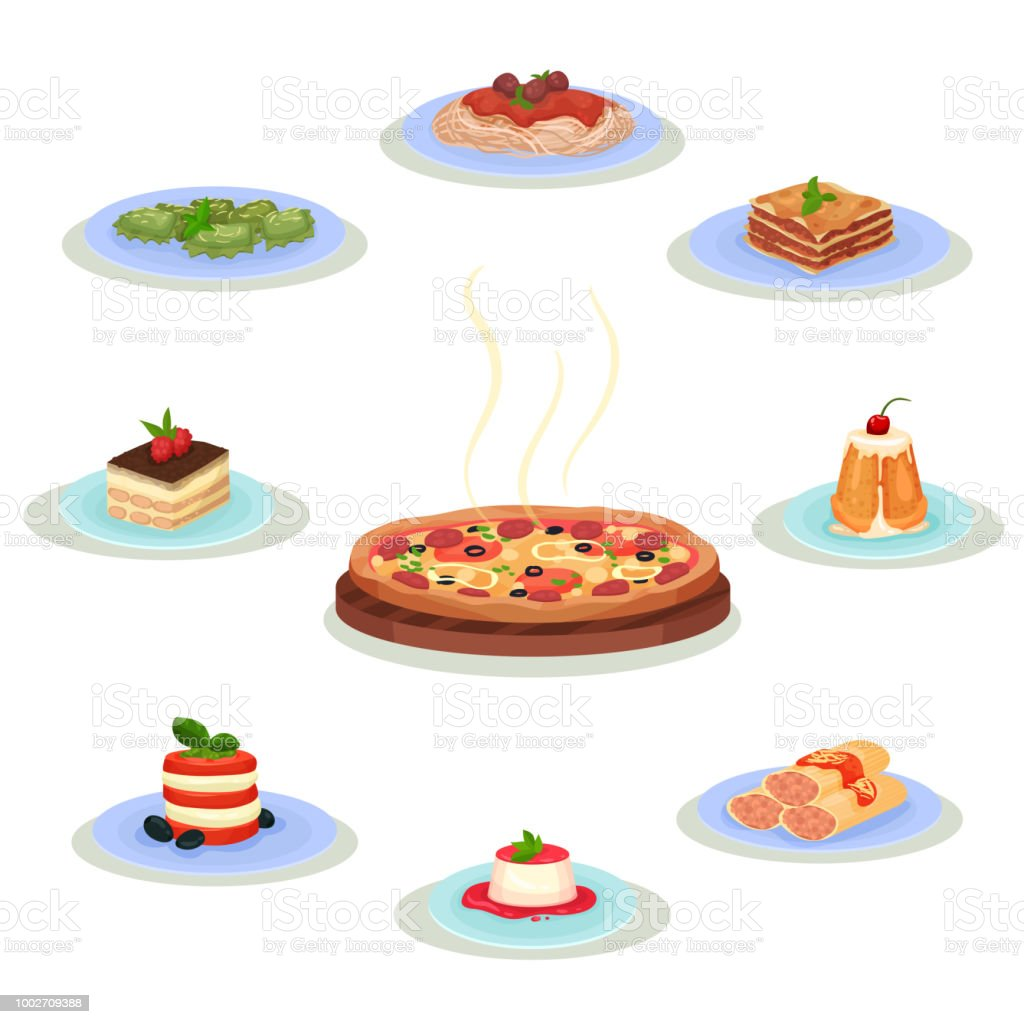 Flat vector set of traditional Italian food. Tasty dishes and sweet desserts. Culinary theme. Elements for recipe book or menu Collection of traditional Italian food. Tasty dishes and sweet desserts. Culinary theme. Graphic elements for recipe book, cafe or restaurant menu Colorful flat vector isolated on white background. Basil stock vector