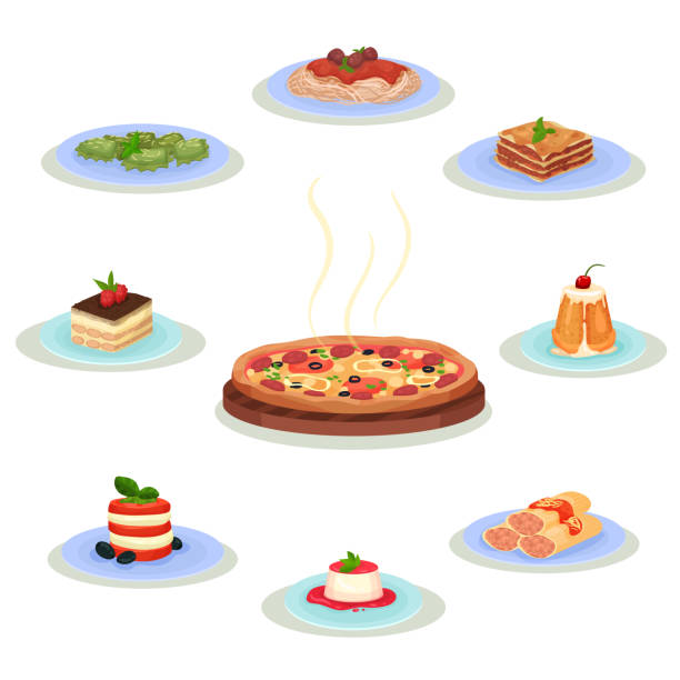 Flat vector set of traditional Italian food. Tasty dishes and sweet desserts. Culinary theme. Elements for recipe book or menu Collection of traditional Italian food. Tasty dishes and sweet desserts. Culinary theme. Graphic elements for recipe book, cafe or restaurant menu Colorful flat vector isolated on white background. cannelloni stock illustrations