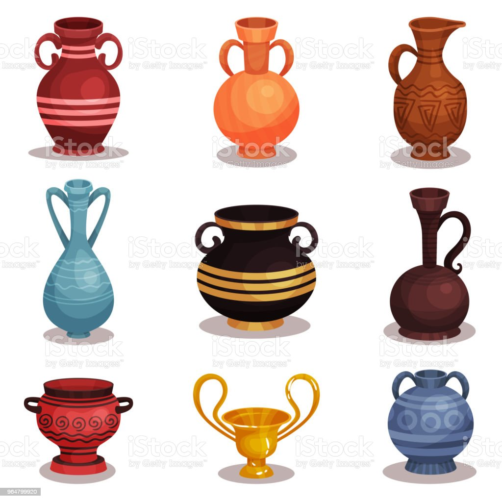 Flat vector set of various amphoras. Ancient Greek or Roman pottery for wine or oil. Old clay jugs with ornaments. Shiny golden cup royalty-free flat vector set of various amphoras ancient greek or roman pottery for wine or oil old clay jugs with ornaments shiny golden cup stock vector art & more images of cartoon