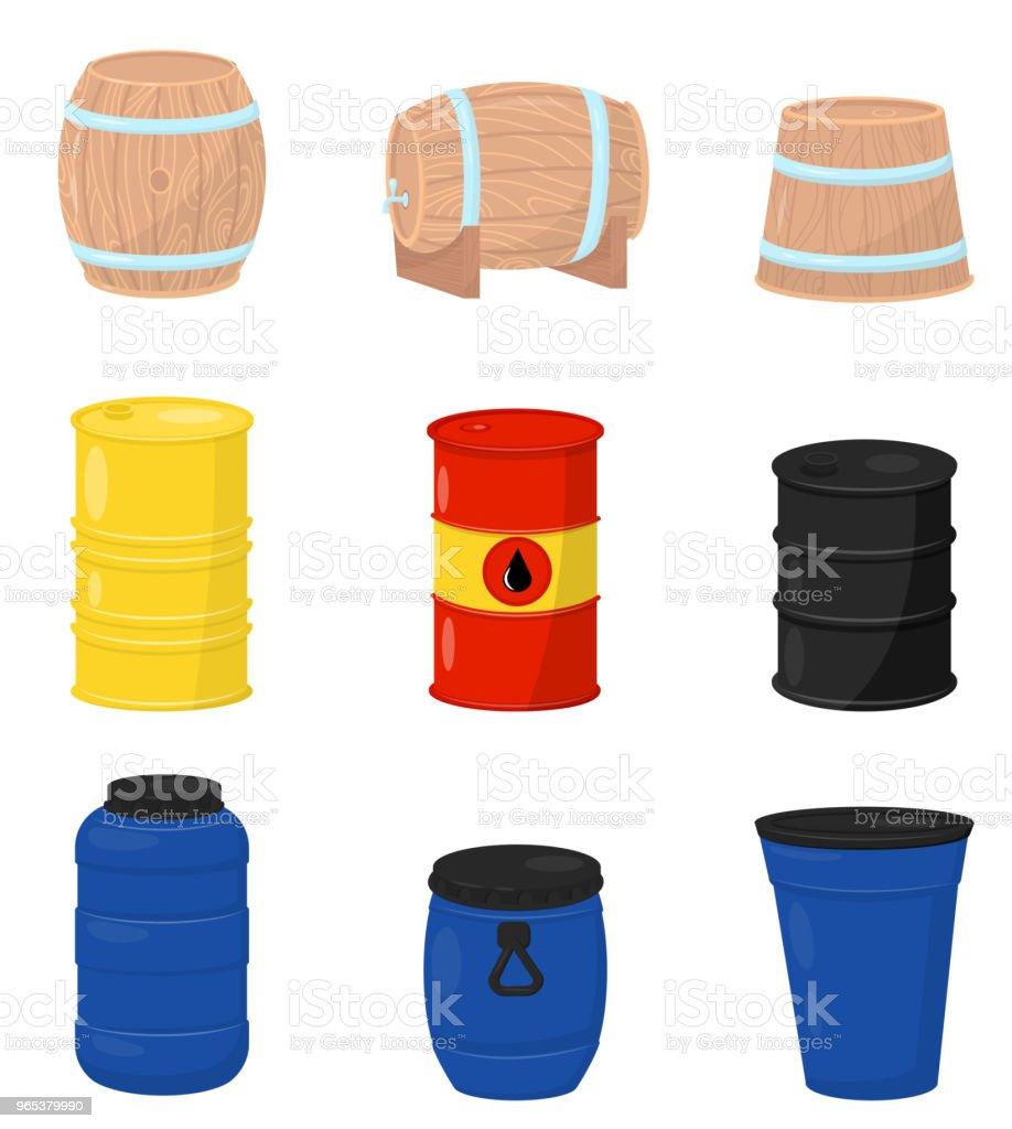 다양 한 배럴의 평면 벡터 집합입니다. 맥주 또는 와인, 플라스틱 물 탱크, 금속 나무 컨테이너 원유와 드럼 - 로열티 프리 0명 벡터 아트